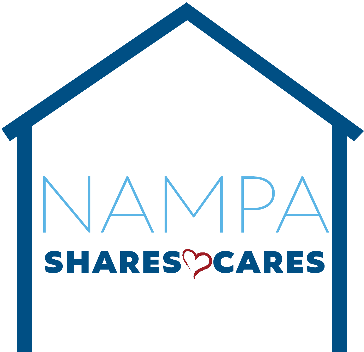 Nampa Shares and Cares logo house transparent