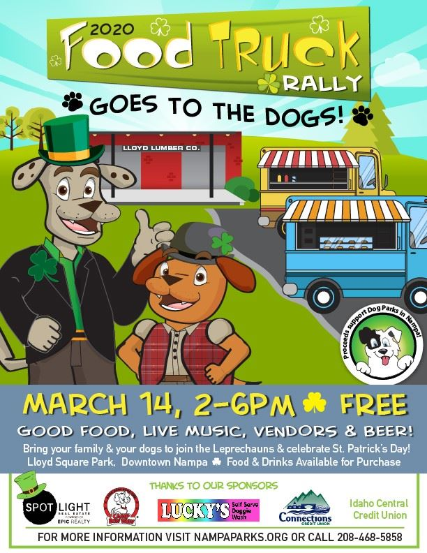 Flyer for Food truck rally goes to dogs March 14 in Downtown Nampa