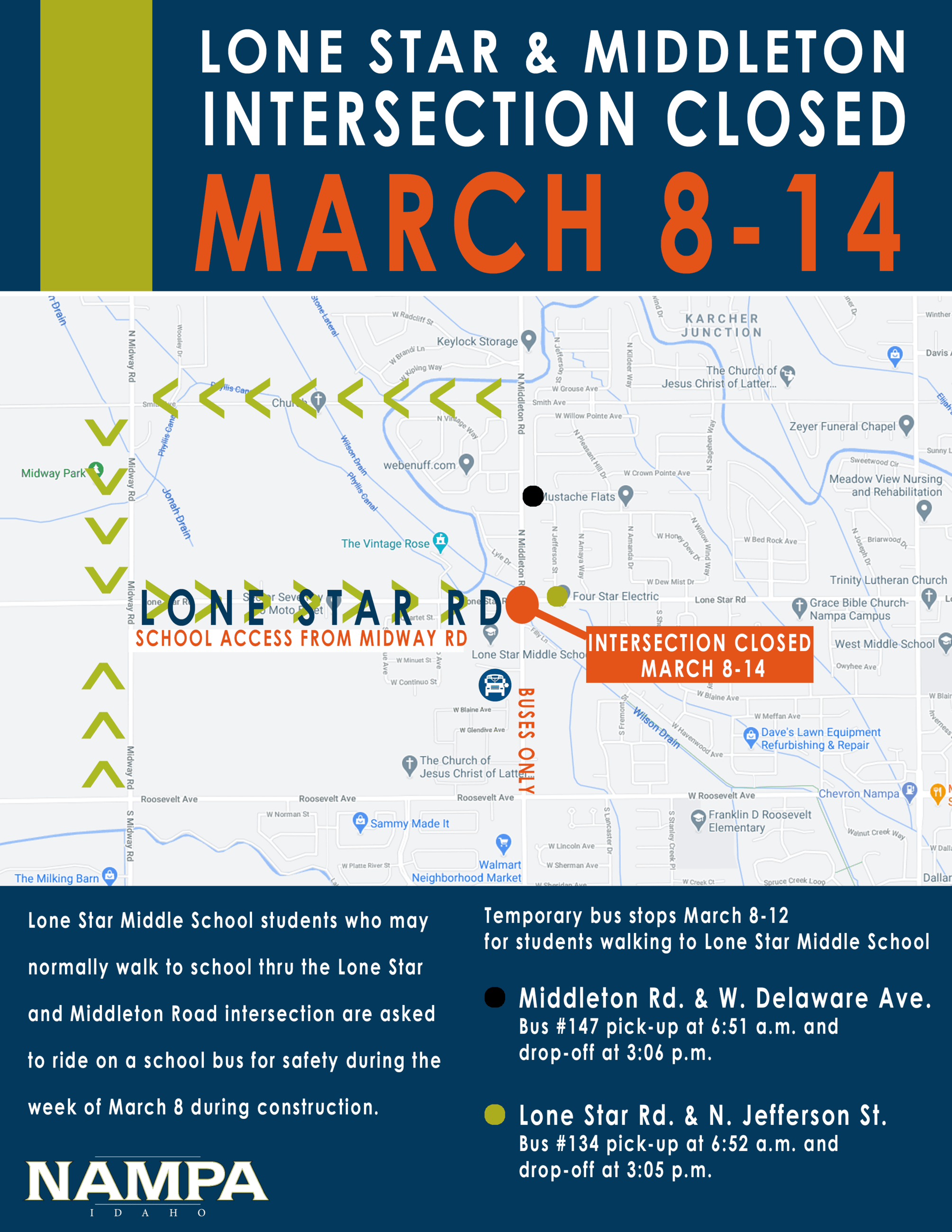 Lone Star and Middleton Road Temp Closure Mar 8-14