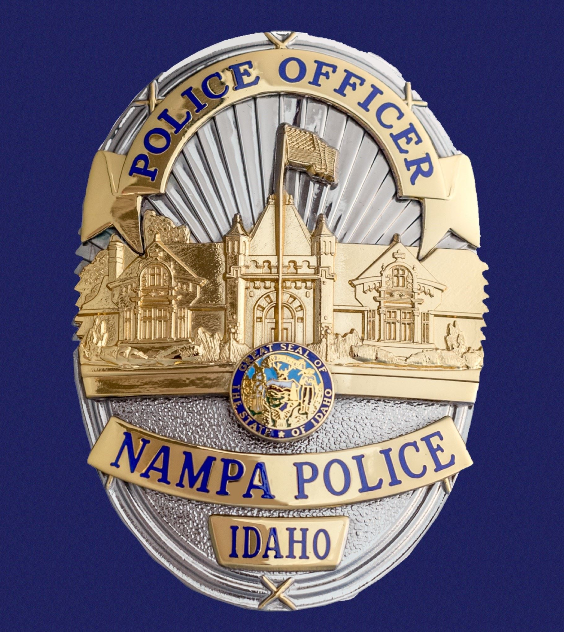 Nampa police badge with blue background