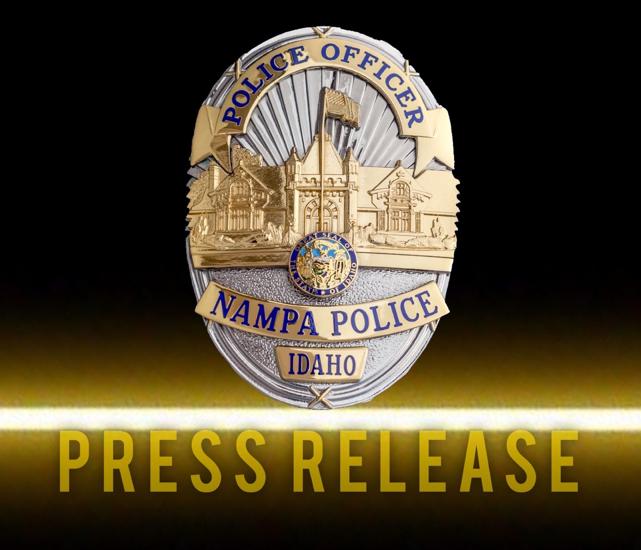 Nampa Police press release logo with Nampa Police badge in the center