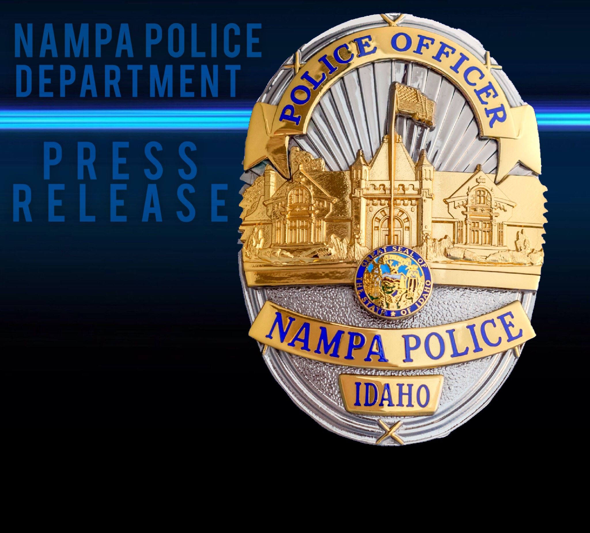 Nampa Police press release logo with Nampa Police badge
