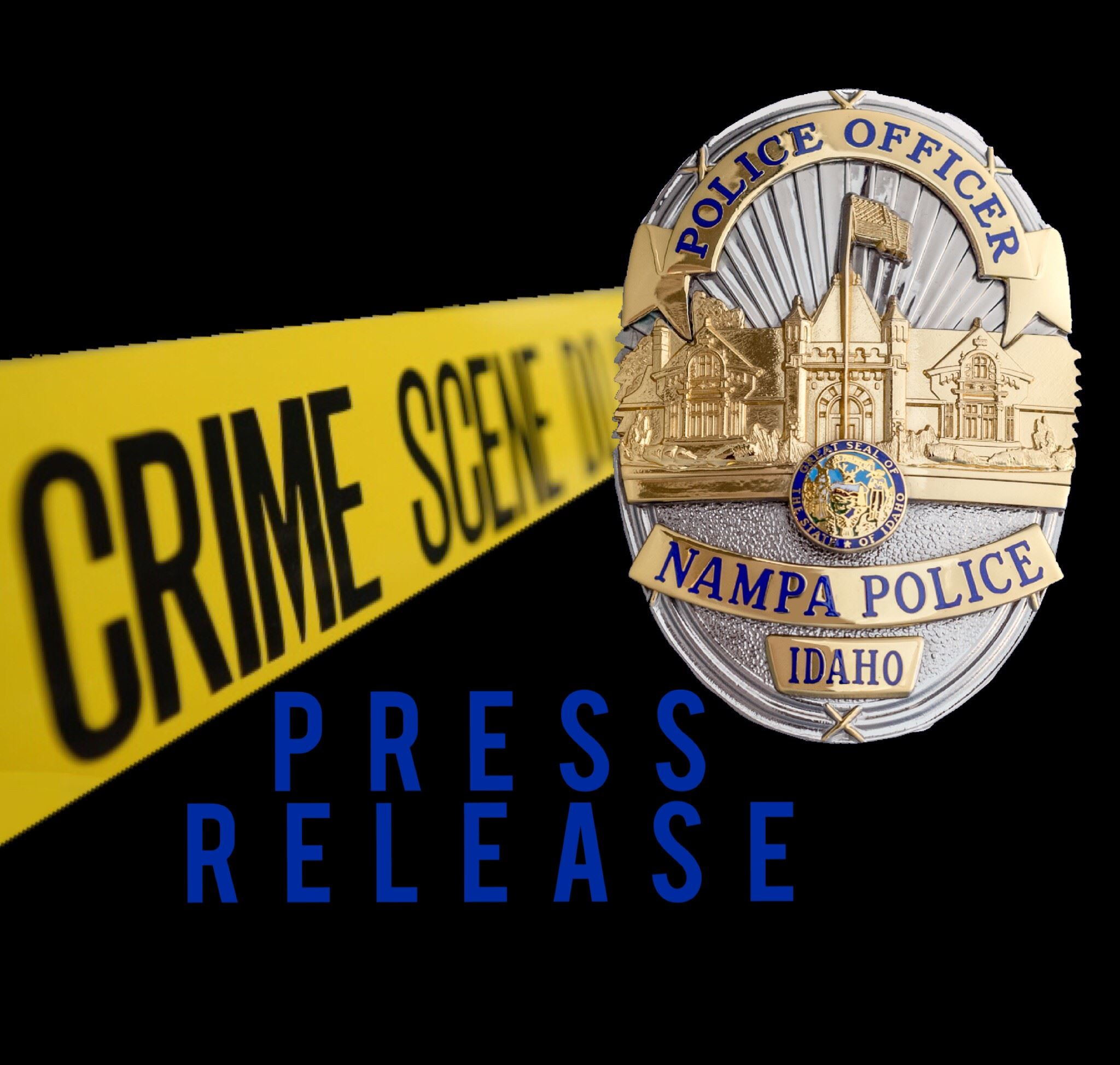 Nampa Police press release logo with badge and crime scene tape