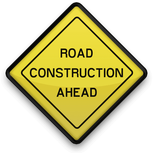 road construction ahead sign