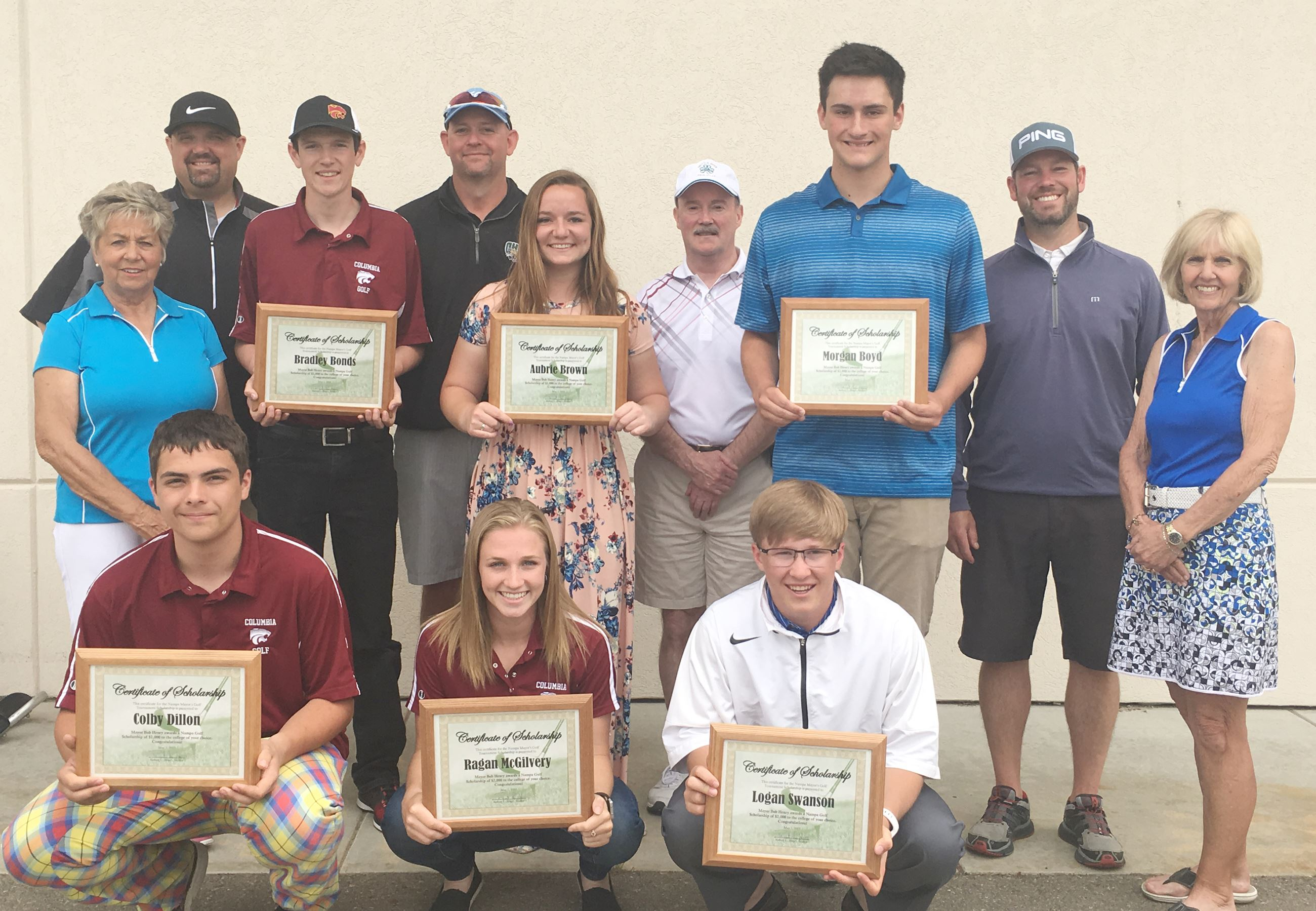 Scholarship winners with Golf Commission