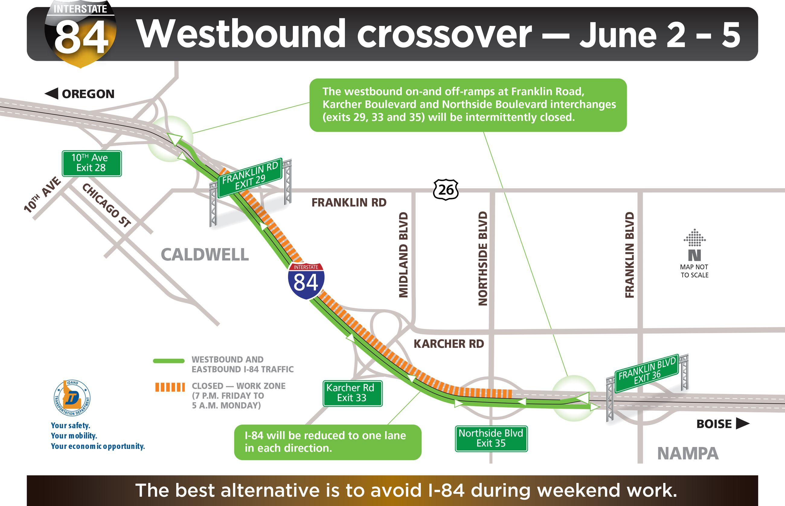 June closures crossovers for I84