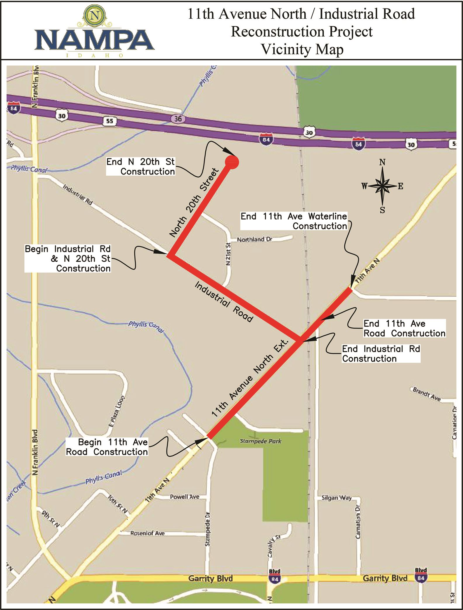 Map of 11th Ave Industrial Road construction area