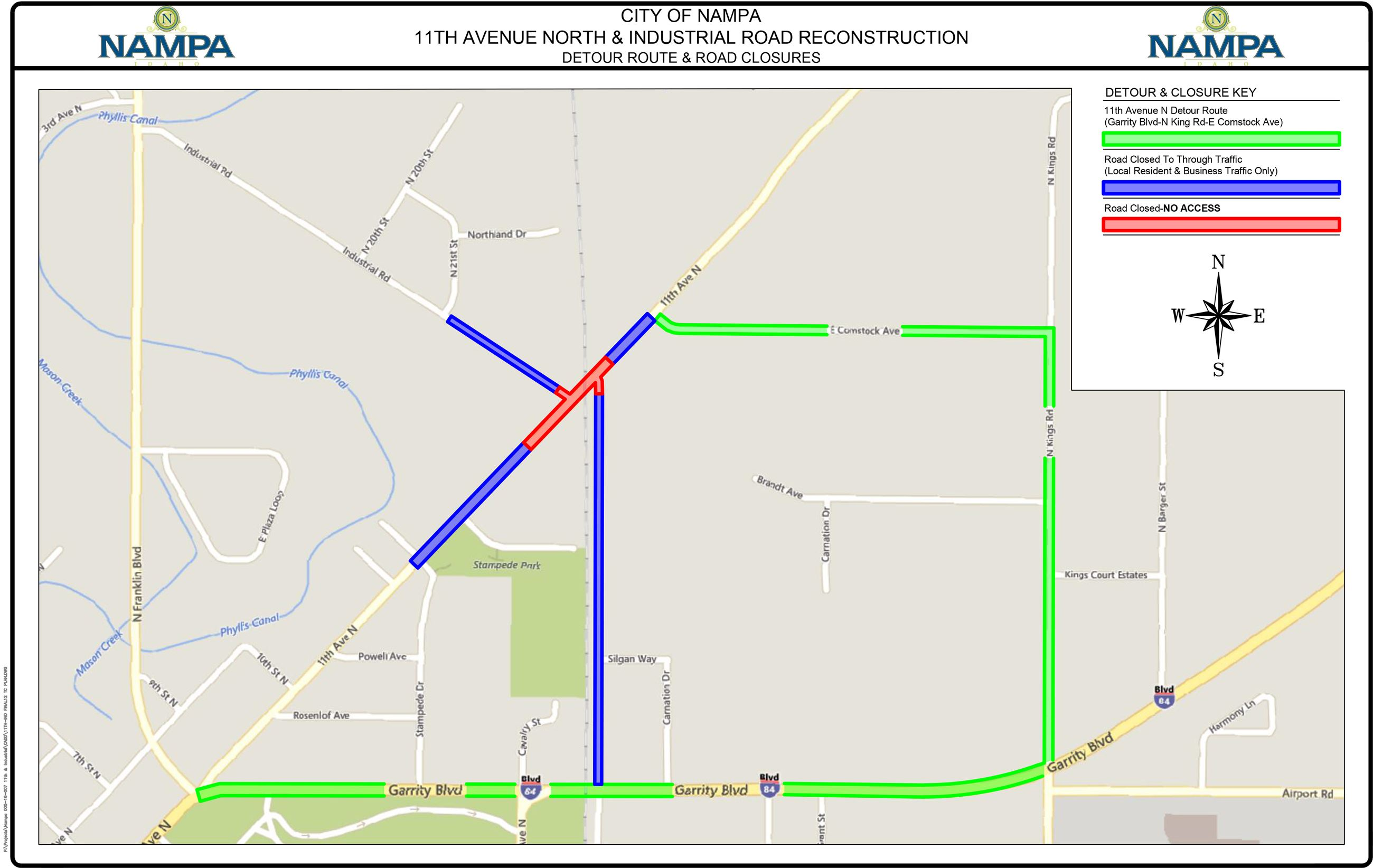 11th  Industrial Road Closures Detour Map