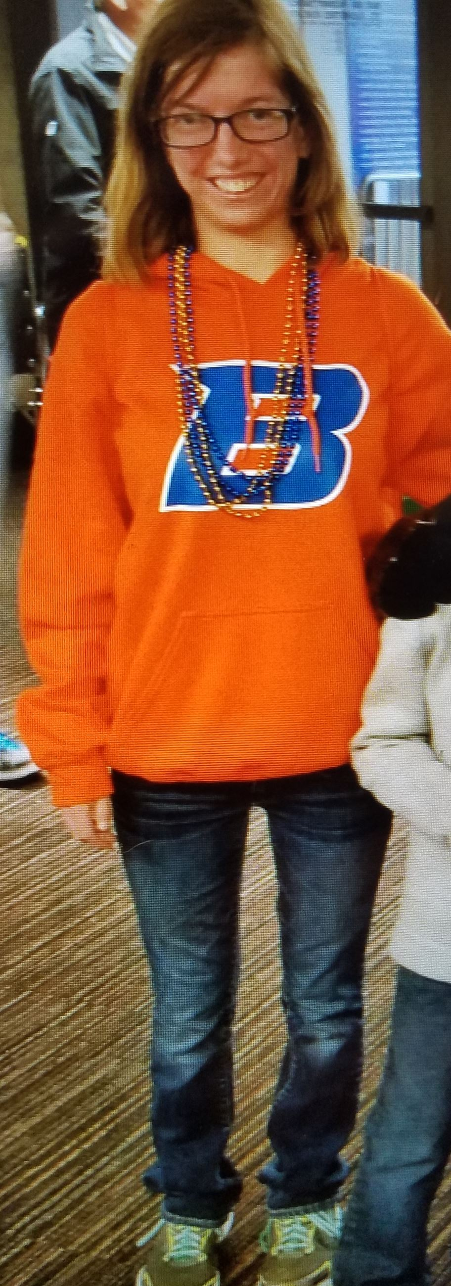 Photo of Heather N. Henderson wearing Boise State Sweatshirt