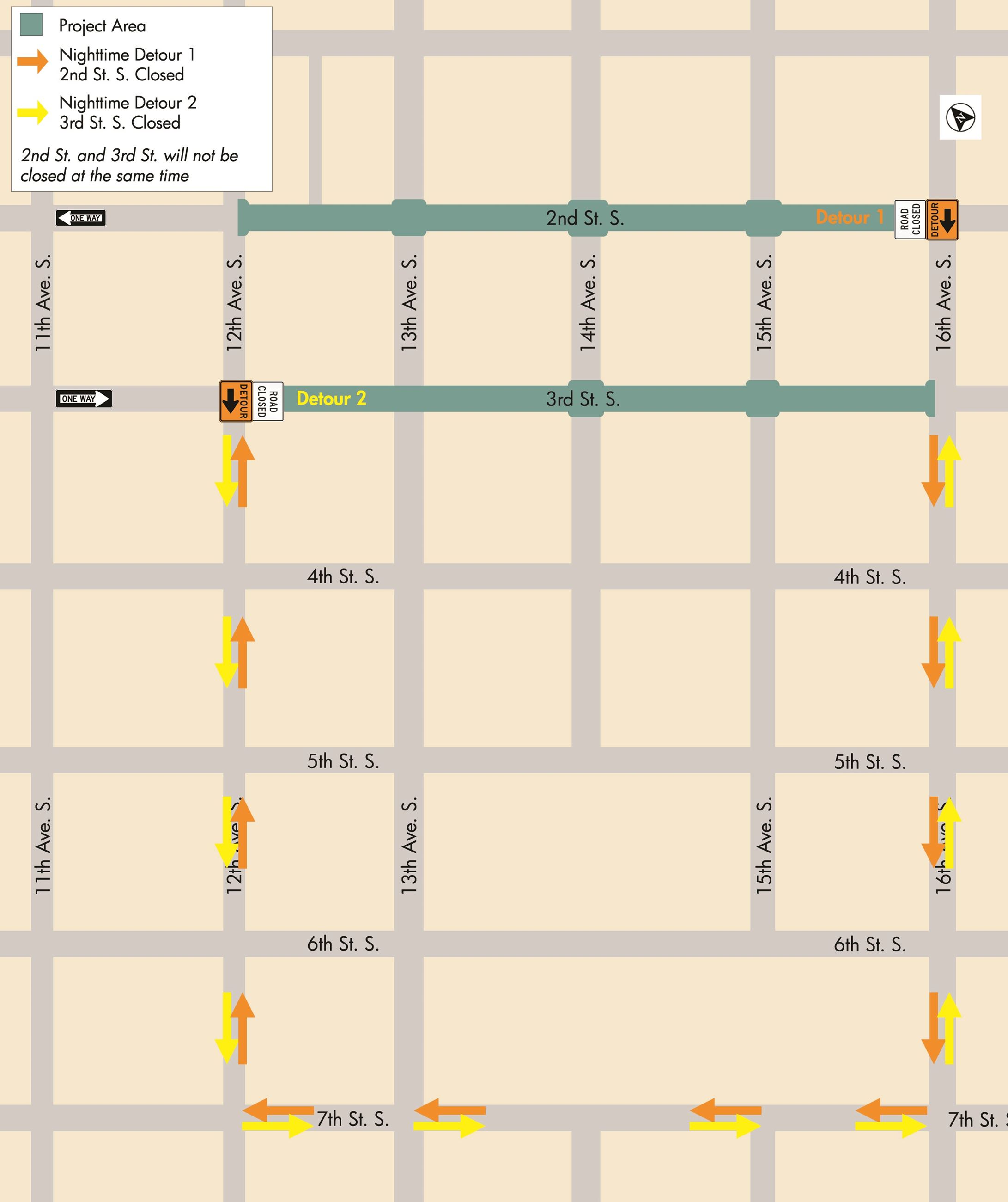 Downtown Map - nighttime detours