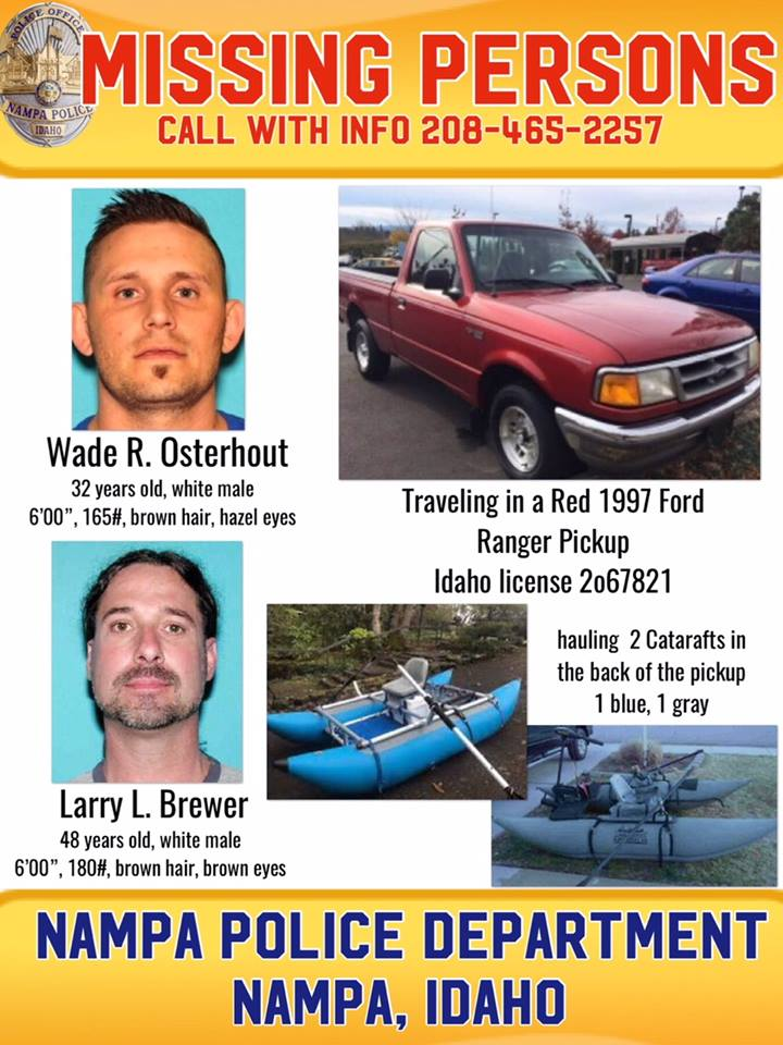 Photos of both missing fishermen, a photo of a vehicle similar to theirs and a photos of their water
