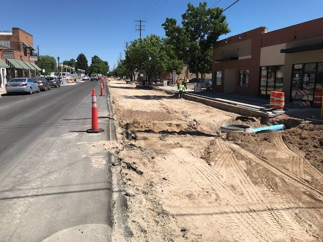 Downtown Nampa utility work construction2