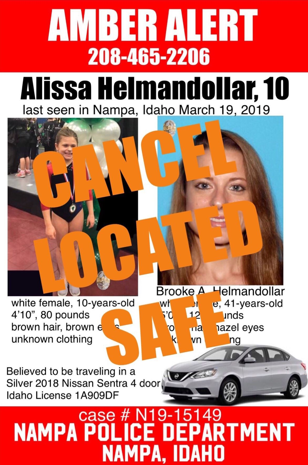 Cancel Amber Alert flyer. Flyer of missing child Alissa and mother, Brooke, with vehicle type that t