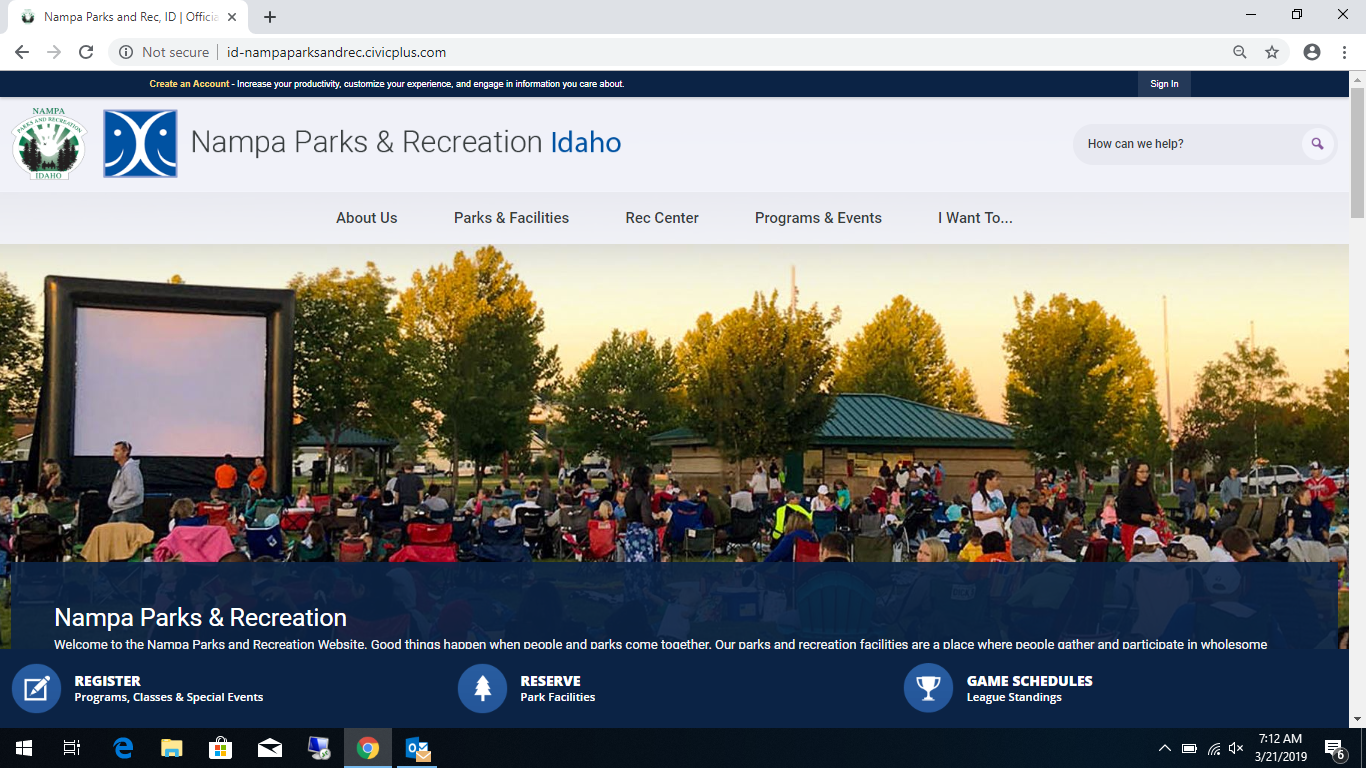 03212019 Nampa Parks and Rec new website screenshot