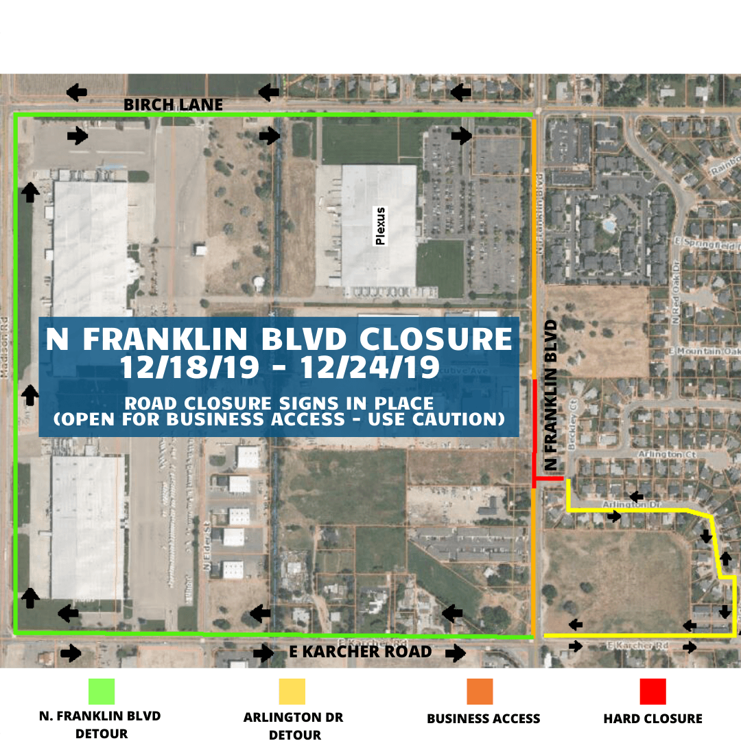 map showing Franklin Blvd closure between Birch and Karcher