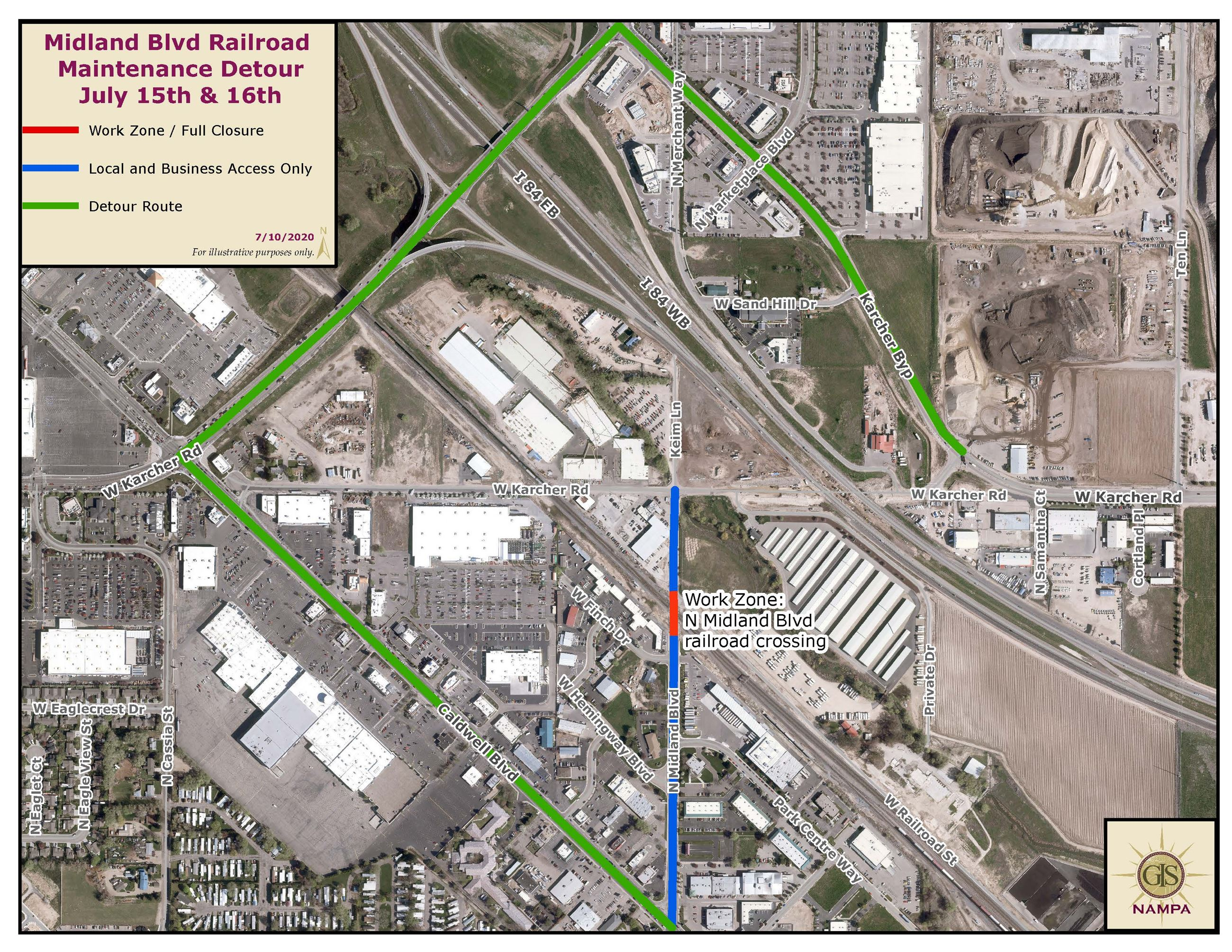 Railroad Related Maintenance to close N Midland Blvd July 15-16